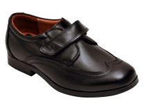 Benelaccio Wing Tip Boys Shoes, Black Boys Shoes, Velcro Shoes for Boys - Formal