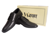 Wizfort Lightweight Black Oxford Lace Up Shoes for Men