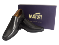 Wizfort Black Slip On Shoes, Leather Sole Loafers for Men