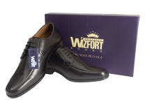 Wizfort Leather Sole Lace Up Shoes, Black Dress Shoes for Men